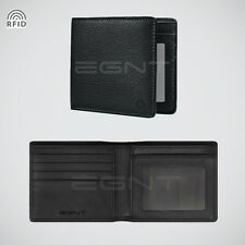 EGNT ID Wallet w/ RFID BLACK GENUINE LEATHER BIFOLD SLIM MENS CARD HOLDER NEW