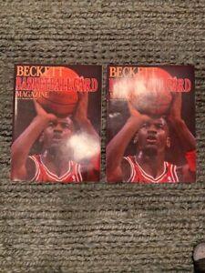 2 BECKETT BASKETBALL CARD MAGAZINES ISSUE #1 MICHAEL JORDAN 1990