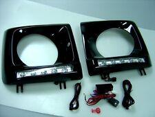 BLACK HEAD LAMP RIM + DAYTIME RUNNING 5PCS LED 1986-2013 MERCEDES W463 G-CLASS