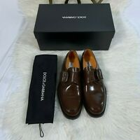 Dolce & Gabbana Sz 6 Men's Dress Shoes in Goya Leather w/ Buckles Color Moro