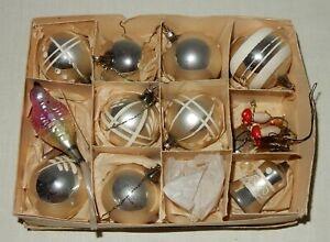 Konvolut Christbaumschmuck Weihnachten Glas antik 1930 Vogel Glocke Baumkugeln