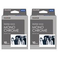 2 Packs 20 Instant Photos Monochrome FujiFilm Instax Wide Film Polaroid Camera