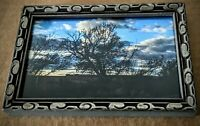 3-1/2 x 5 landscape photograph in Vintage wood frame. Old tree and farm field.