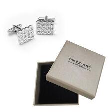 Mens Clear Crystal Fashion Cufflinks & Gift Box By Onyx Art