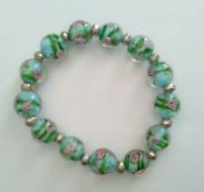 Millefiori Glass bead Bracelet Green with Pink Roses.  #731