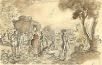 Harold Hope Read, Horse & Carriage – Early 20th-century watercolour painting