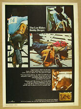 1972 Lee Rider Jeans rodeo cowboy Bobby Berger photos vintage print Ad