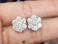 DEAL!3.00CT Round Genuine Diamond Cluster Flower Studs Earrings 10K Gold 11.50mm