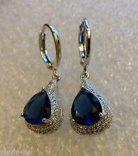 B09.Plum UK blue sapphire & sim diamond pear drop earrings, white gold gf BOXED