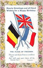 POSTCARD  MILITARY  WWI  PATRIOTIC  The  Flags  of  Freedom  Birthday  Greetings