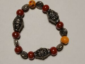 Handcrafted Bracelet Red Orange silver-toned Beads