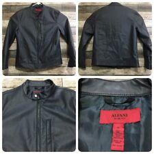 Alfani Slim Fit Moto Jacket Men's M Dark Navy Blue Faux Leather EUC!
