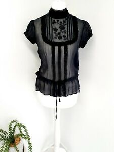 Warehouse Blouse High Neck Button Back Sheer Lace Detail UK 6 Steampunk Goth