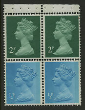 Great Britain   1971-74   Scott #MH 26a    Mint Never Hinged Booklet Pane - Top