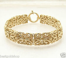 "7.5"" Bold Mirror Byzantine Bracelet with Senora Clasp REAL 14K Yellow Gold"