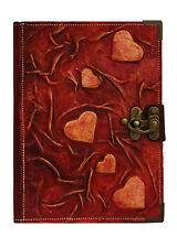 Handmade RICARICABILI vera pelle diario agenda supporto notebook Viola Cuore