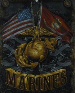 Marines Flags Metal Sign Aluminum USMC Parking Plaque Armed Forces Emblem New