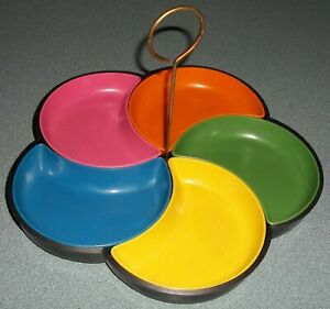 Vintage Multicolor Plastic Flower Petals Price Imports Candy Snack Dish