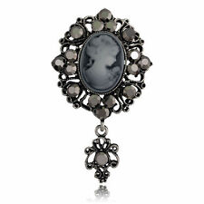 Antique Silver Plated Grey Crystal Cameo Vintage Inspired Statement Brooch