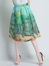 Women's Pleated House Scene Green Multi-Color Print Swing A-Line Skirt -S,M,L,XL