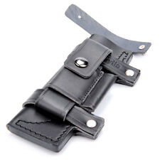 "Top Sale Straight Leather Belt Sheath For 7"" Fixed Knife W/Pouch Bag Black"