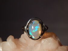 Huge 3.80 Ct. Oval Cabochon Ethiopian Opal Sterling Silver Ring