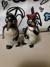 "Vintage Salt & Pepper Set, ""Willie & Millie"" Penguin Made In Dayton Ohio Plastic"