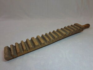 Antique Primitive Folk Carved Wooden Mangle Board 19th c Farm House Laundry Tool