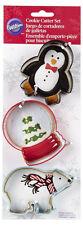 Penguin Snowglobe Polar Bear 3 pc Metal Cookie Cutter Set from Wilton #5070