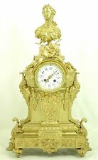 Fantastic Large Fireplace Clock With Bust Um 1860 Bronze Fire-Gilded