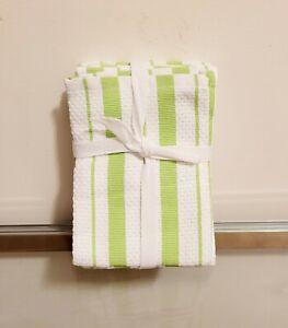 Williams Sonoma Classic Stripe Dishcloths Bright Green Set of 4 NEW