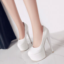 Womens Patent Leather Platform High Heel Pumps Wedding Shoes UK Size 1--12 C472