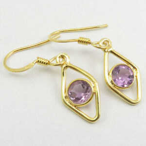 925 Solid Silver Gold Plated Purple AMETHYST Earrings 3.3 cm Low Price