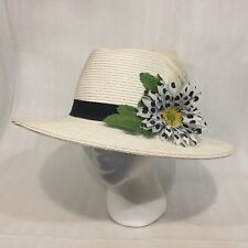 Women's WHITE Wide Brim Fedora Flower FEATHER Church Hat Polyester/Paper Straw