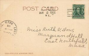 Middlebury VT R.F.D.1-5-1906 Cancel Vermont Postcard