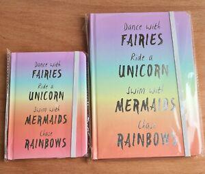Set 2 Notebooks Fairies Unicorn Mermaids Rainbow Hardback Lined Journal A5 + A6