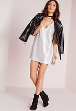 BNWT MISSGUIDED foil plunge shift dress silver size 10 UK