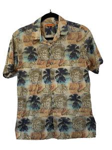 Tori Richards Hawaiian Camp Shirt Mens SM Khaki