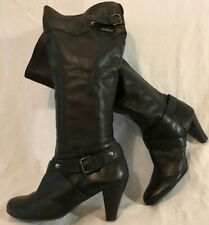 Russell&Bromley Black Knee High Leather Lovely Boots Size 39 (532QQ)