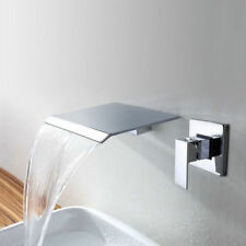 Waterfall Spout Bathroom Wide Tub Basin Sink Faucet Mixer Tap Chrome 1 Handle