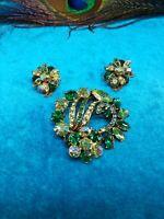 Vintage Jewlery Set,  Pin/Brooch And Earrings AB, green Rhinestones #824