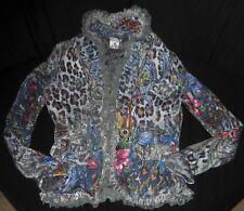 Alberto Makali Knit Sweater Jacket Velvet Ruffle Trim Lined Sexy Small