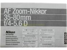 Manuale cartaceo originale per Nikon AF zoom Nikkor 35/80mm. f2,8 D.