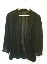 Topshop Black Open Front Rolled Sleeve Blazer Size 18