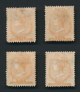 MALTA STAMPS 1867 QV SG #6 1/2d ORANGE-BROWN SHADE x4 MINT OG RARE LOT CV £1700