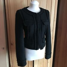 Warehouse Black Wool Boucle Jacket UK 6 (XS) - RRP £80