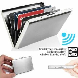 Aluminum Metal Slim Anti-Scan Credit Card Holder RFID Case Blocking 6 Slots