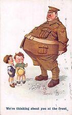 POSTCARD   COMIC   DONALD  McGILL  WWI  Fat  Sergeant  Little  Boys