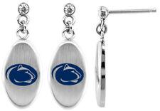 PENN STATE NITTANY LIONS PSU * Stainless Steel Dangle Earrings w/CZ NCAA Jewelry