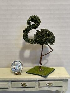 Artisan WILHELMINA Flamingo Topiary for Garden or Patio Dollhouse Miniature 1:12